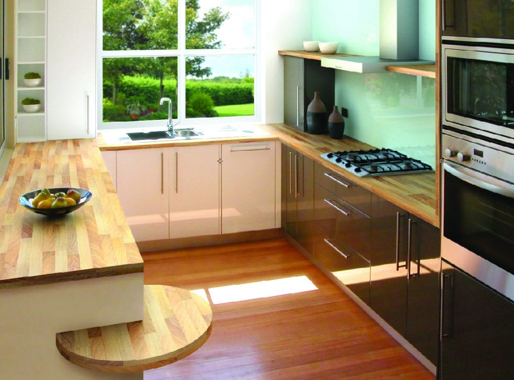 Light Walnut, a décor from our TopWood range of Carrera Marble Décor from our square edge kitchen worktop range