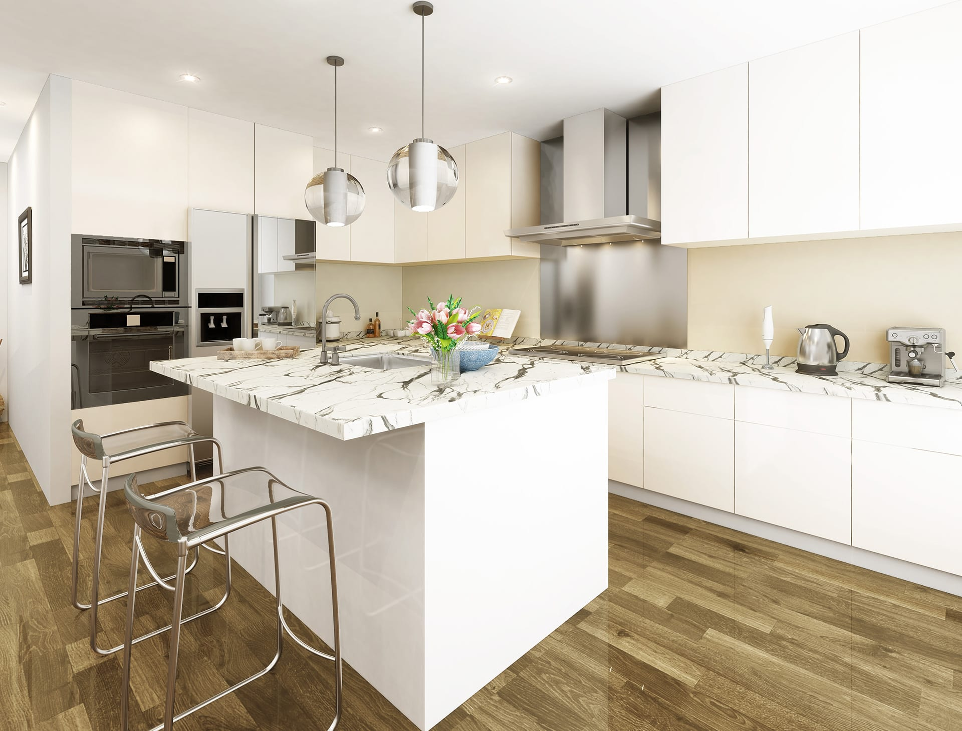 A laminate kitchen worktop from our Italian Marble Décor range