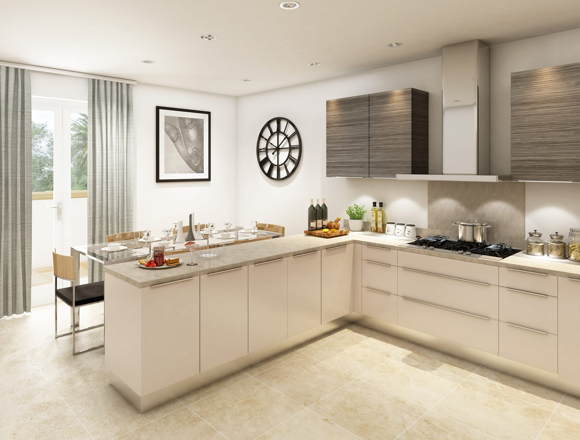 A modern, bespoke kitchen featuring a Topform square edge kitchen worktop