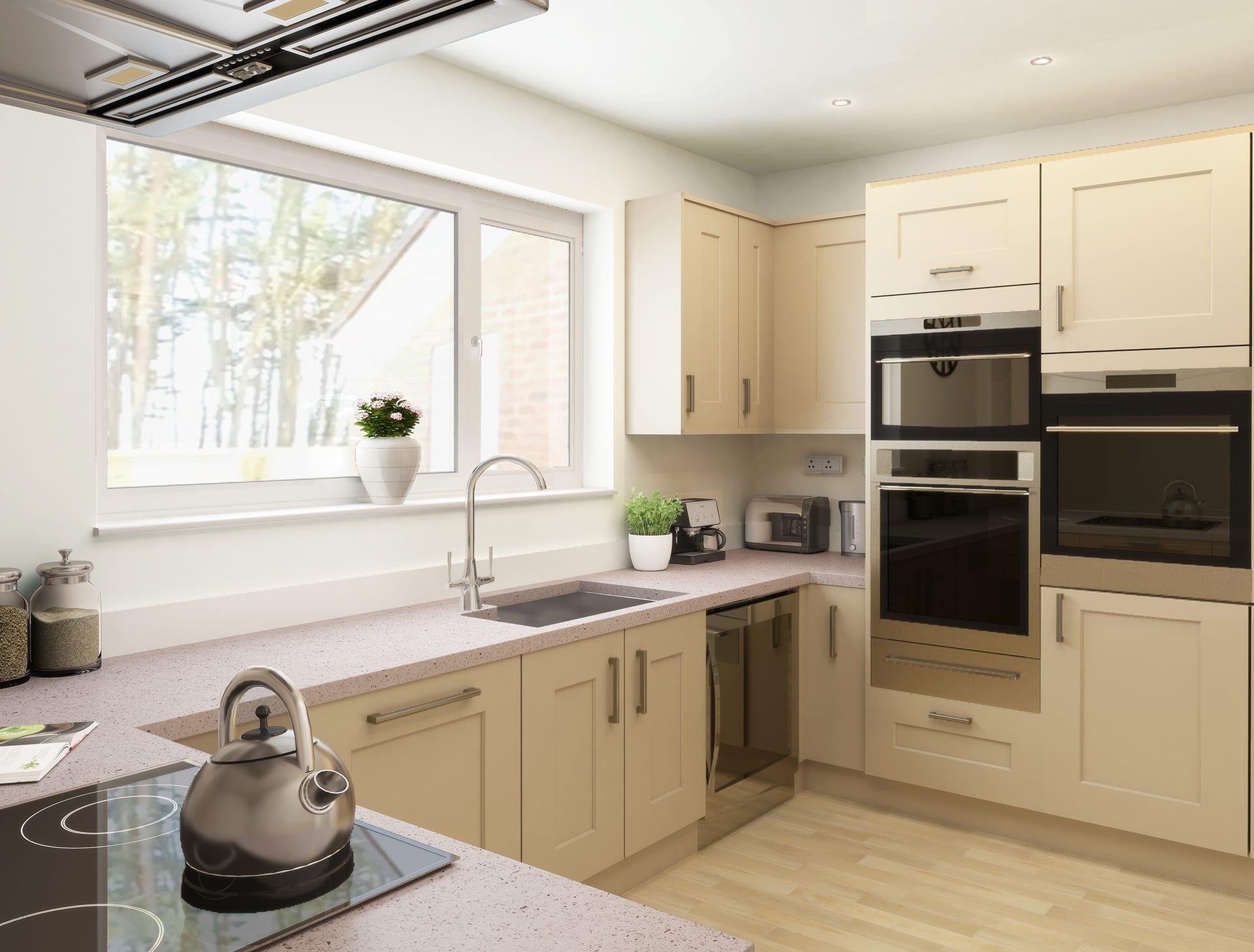 A square edge kitchen worktop from our Quartz and Terrazzo range